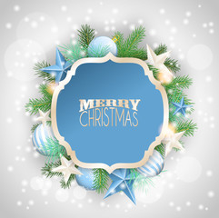 Christmas background with blue ornaments and branches