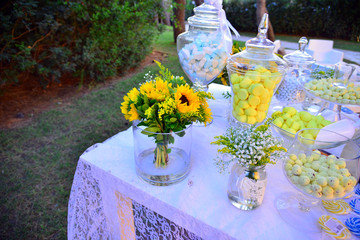 Marriage wedding christening life event in yellow