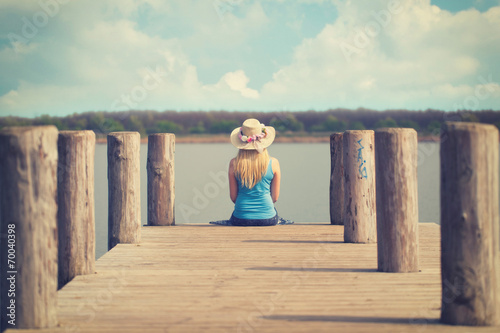 canvas print picture im Sommer am See