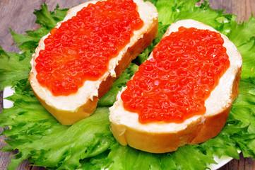sandwiches with salmon caviar