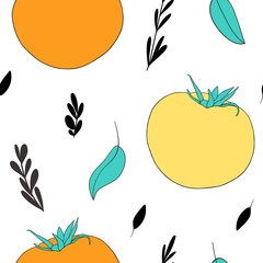Cute kitchen seamless pattern with hand drawn tomatoes