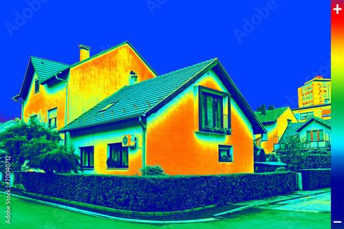 Leinwanddruck Bild Thermovision image on House