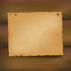 Wooden background with grungy paper
