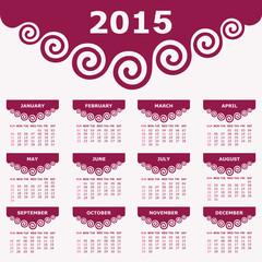Calendar of 2015 with spiral design - vector illustration