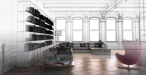 Interno soggiorno vintage con libreria openspace 3d | Buy Photos ...