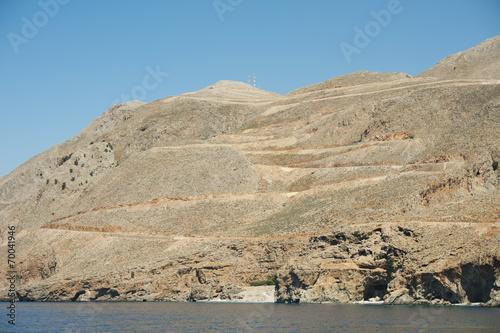 canvas print picture Braungebrannte Südküste von Kreta bei Sfakia