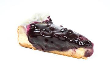 Blueberry cheesecake on white isolated background