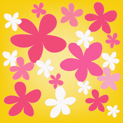 abstract magic colorful flower on yellow background