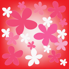 abstract magic colorful flower on red background