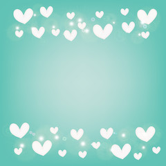 abstract white heart on blue background