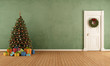 canvas print picture - Old room with christmas tree