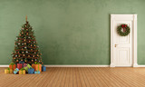 Old room with christmas tree