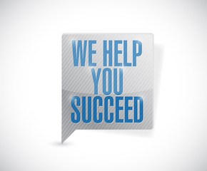 we help you succeed message bubble illustration