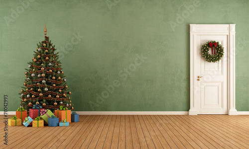 Retro Old room with christmas tree