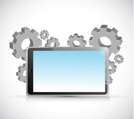 tablet gears illustration design
