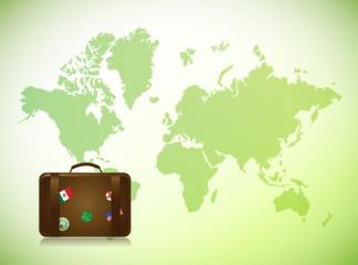 world map and travel luggage illustration design