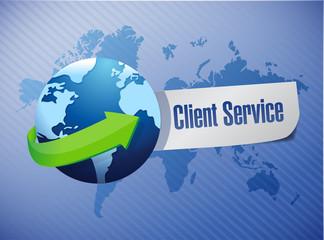 globe client service sign illustration design