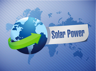 globe solar power sign illustration design