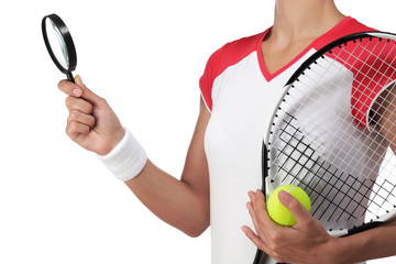 tennis player holding a magnifying glass