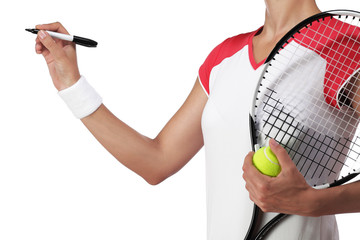 female tennis player writing something