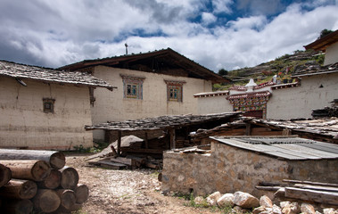 tibetan traditional house and a backyard in a countryside on a b