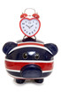 British piggy bank with heart clock