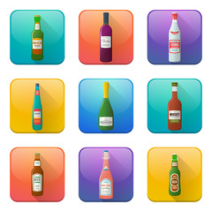color vector glossy alcohol bottles icons set