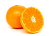 Orange and sliced orange isolated on white background