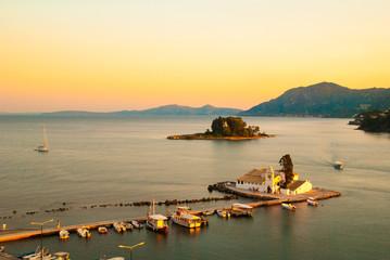 Mouse Island and the Vlacherna Monastery. Corfu Island, Greece