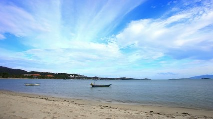 Time lapse  with boats on the beach in Koh Samui Thailand
