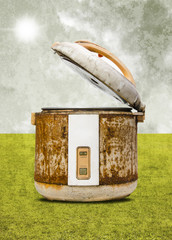 Old rice Cooker with field background in retro style