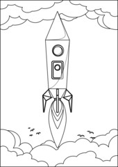 Rocket Flying into Space Through the Sky with Clouds and Birds,