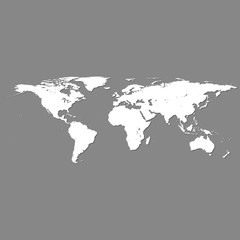 vector white world map with shadow on grey
