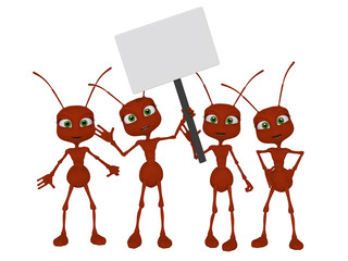 Ants 3d cartoon with a blank sign