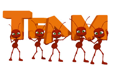 Teamwork, ants 3d cartoon