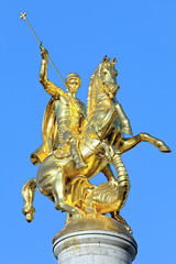 Sculpture of St George on the top of Freedom Monument in Tbilisi