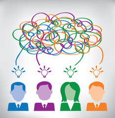 Business people brainstorming and sharing ideas