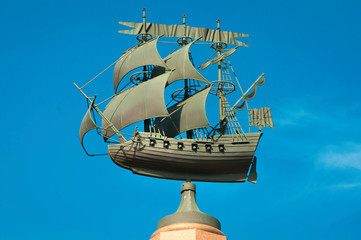Vessel on the top of the Rizhsky fountai Moscow, Russia.