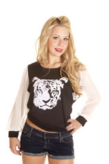 woman black tiger shirt shorts