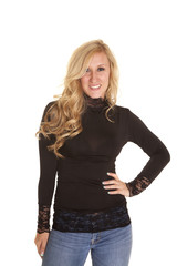 woman black turtle neck jeans