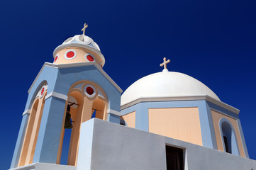 A white church in Fira on Santorini island, Greece
