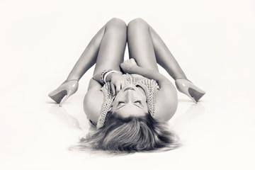 Sexy woman lying on the floor