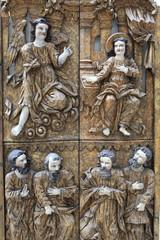 View of carved wooden door