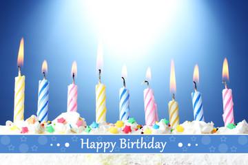 Birthday postcard.Beautiful birthday candles