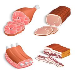 Meat decorative icons set
