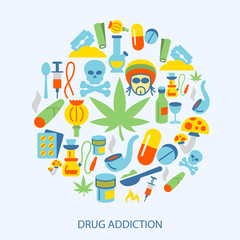 Drugs icons flat