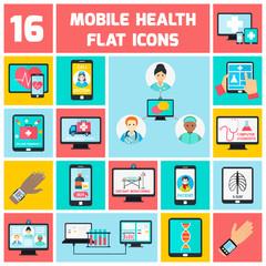 Mobile health icons set