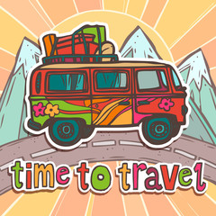 Travel poster with bus