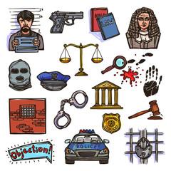 Law icon sketch color