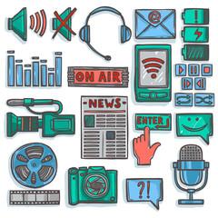 Media sketch icons set color